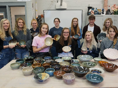 Ceramics Two Class Creates Handmade Bowls for Charitable Cause